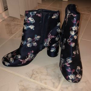 Blue Floral Heeled Booties